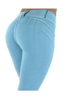 Womens Sexy Stretchy Zipper High Waisted Jeans Light Blue