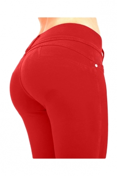 Womens Sexy Stretchy Zipper High Waisted Jeans Red