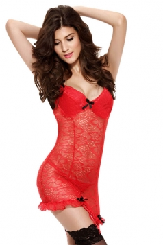 Womens Sexy Halter Lace See Through Backless Bustier and Garter Red