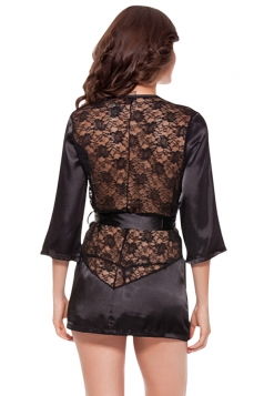 Womens Sexy Lace Hollow Out Back Sash Plus Size Sleepwear Black