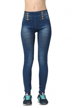 Womens Slimming Elastic Bleached Denim Leggings Blue