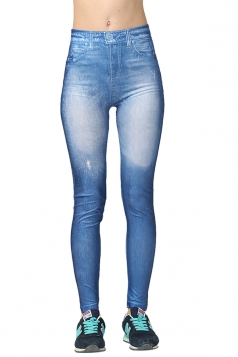 Womens Slimming Bleached High Elastic Denim Leggings Blue