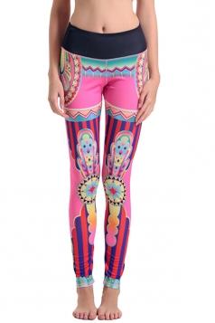 Womens High Elastic Waist Tribal Digital Printed Yoga Leggings Pink
