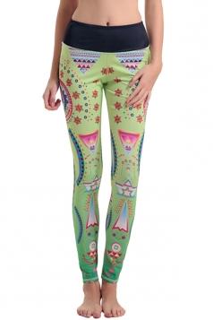 Womens Elastic Waist Geometric Digital Printed Yoga Leggings Green