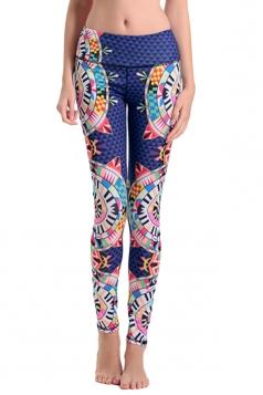 Womens High Elastic Waist Geometric Digital Printed Yoga Leggings Blue