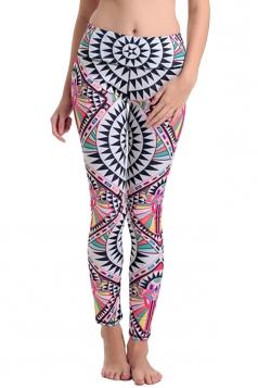 Womens High Waist Tribal Digital Printed Elastic Yoga Leggings Pink