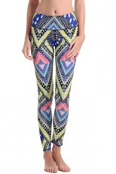 Womens High Waist Geometric Digital Print Elastic Yoga Leggings Yellow