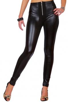 Womens PU Leather Elastic Zipper Ankle-length Leggings Black
