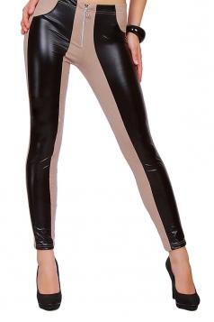 Womens PU Leather Elastic Zipper Ankle-length Leggings Khaki