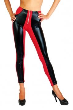 Womens PU Leather Elastic Zipper Ankle-length Leggings Red