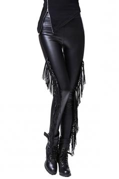 Womens Chic Fringe Lined PU Leather Leggings Black
