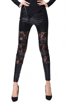 Womens Lace Patchwork PU Leather Ankle-length Leggings Black