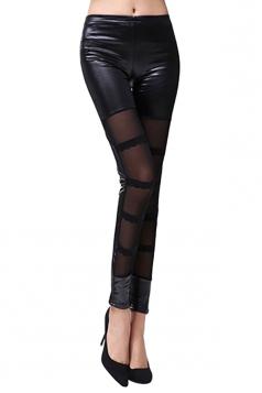 Womens Elastic See Through PU Leather Leggings Black