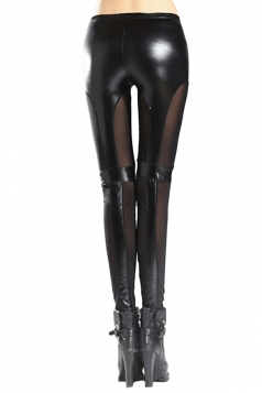 Womens Sexy Stretchy Patchwork See Through PU Leather Leggings Black