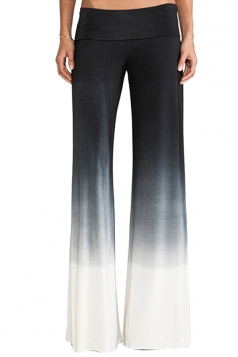 Womens Gradient Elastic Waist Wide Leg Palazzo Pants Black