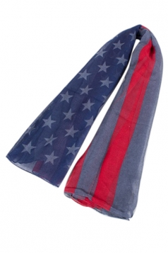 Womens Stylish American Flag Printed Scarf Gray