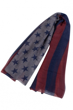 Womens Stylish American Flag Printed Scarf Navy Blue