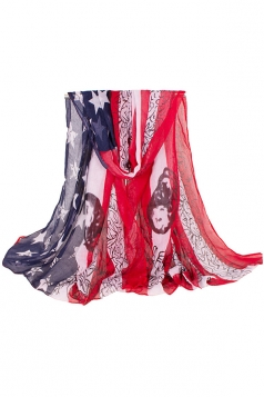 Womens Fashion Big American Flag Printed Voile Scarf Red