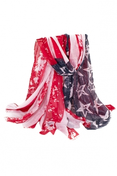 Womens Stylish Big American Flag Printed Voile Scarf Red