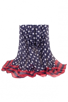 Womens Stylish Five-pointed Stars Printed Voile Scarf Blue