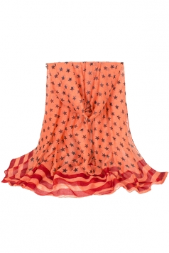 Womens Stylish Five-pointed Stars Printed Voile Scarf Orange