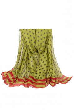 Womens Stylish Five-pointed Stars Printed Voile Scarf Green