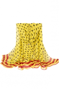 Womens Stylish Five-pointed Stars Printed Voile Scarf Yellow