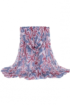 Womens UK Flag Printed Voile Scarf Blue