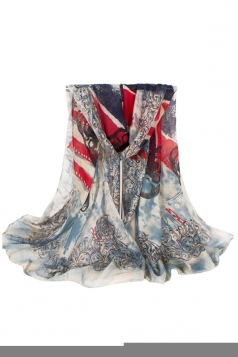 Womens Stylish UK Flag and Skull Printed Voile Scarf Beige White
