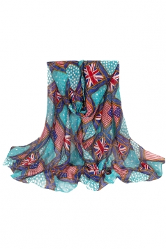 Womens Stylish Flag Rope Polka Dot Printed Voile Scarf Blue