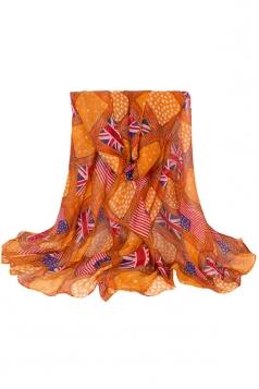 Womens Stylish Flag Rope Polka Dot Printed Voile Scarf Orange