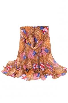 Womens Stylish Flag Rope Polka Dot Printed Voile Scarf Khaki