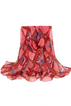 Womens Stylish Flag Rope Polka Dot Printed Voile Scarf Red