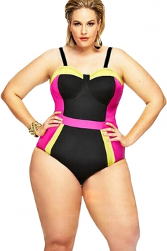Womens Plus Size Color Block Strap One-piece Monokini Rose Red