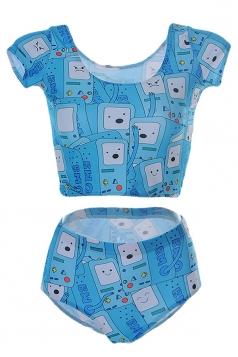 Womens Digital Galaxy Robot Printed Tankini Top & Swimwear Bottom Blue