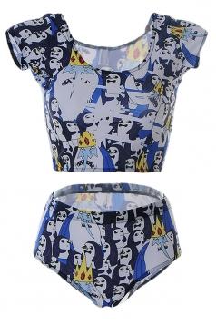 Womens Ice King Printed Tankini Top & Swimwear Bottom White