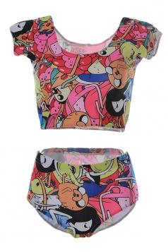 Womens Adventure Time Printed Tankini Top & Swimwear Bottom Pink