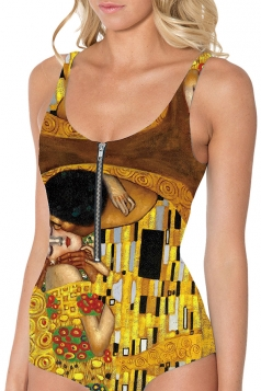 Womens Kiss Scene Digital Printed Zipper One-piece Monokini Brown