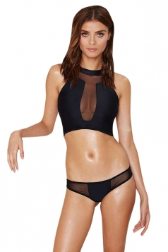 Womens Mesh Splicing Round Neck See Through Two-Piece Swimsuit Black