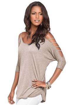 Womens Plain Long Sleeve Off Shoulder Hollow Out String T-shirt Khaki