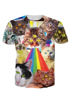 Womens Crewneck Short Sleeve 3D Galaxy Space Cats Print T-shirt Brown