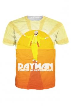 Womens Crewneck Short Sleeve Dayman 3D Print T-shirt Yellow