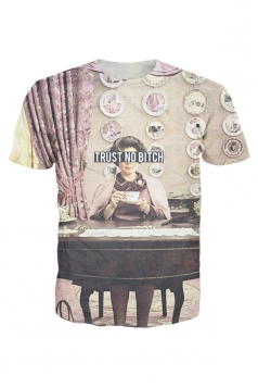 Womens Crewneck Short Sleeve Trust No Bitch 3D Print T-shirt Gray
