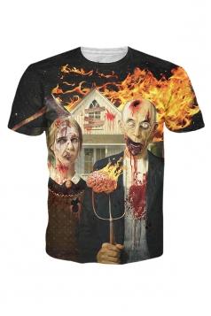 Womens Crew Neck Short Sleeve American Gothic 3D Print T-shirt Black