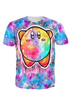 Womens Crewneck Short Sleeve Kirby Cartoon 3D Print T-shirt Blue