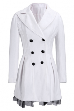 Womens Long Sleeve Double-breasted Tunic Lace Hem Trench Coat White