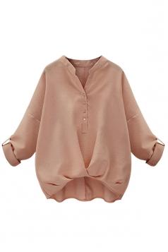 Womens Chic Plain V Neck Pleated Hem Pullover Blouse Pink