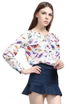 Womens Lace Up  V Neck Bird Printed Long Sleeve Chiffon Blouse White