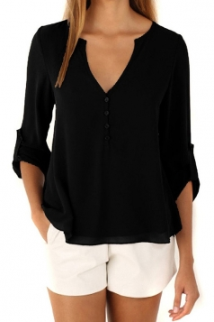 Womens Chiffon V Neck Back Buttons Tunic Blouse Black