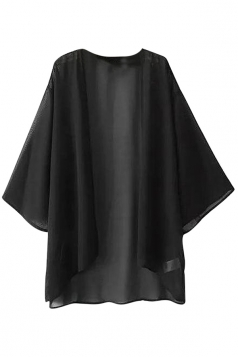 Womens Casual Plain Batwing Sleeve Chiffon Cover Up Black